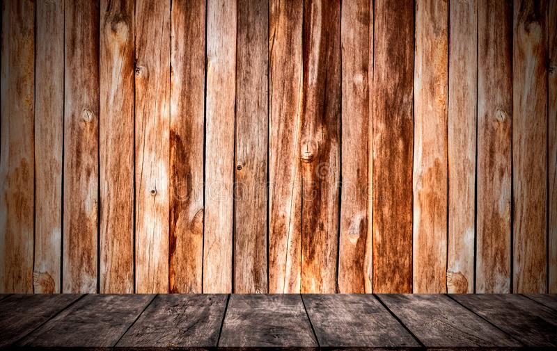 Walls and floors are made of wood. The empty room is used for decorating or displaying work stock photography