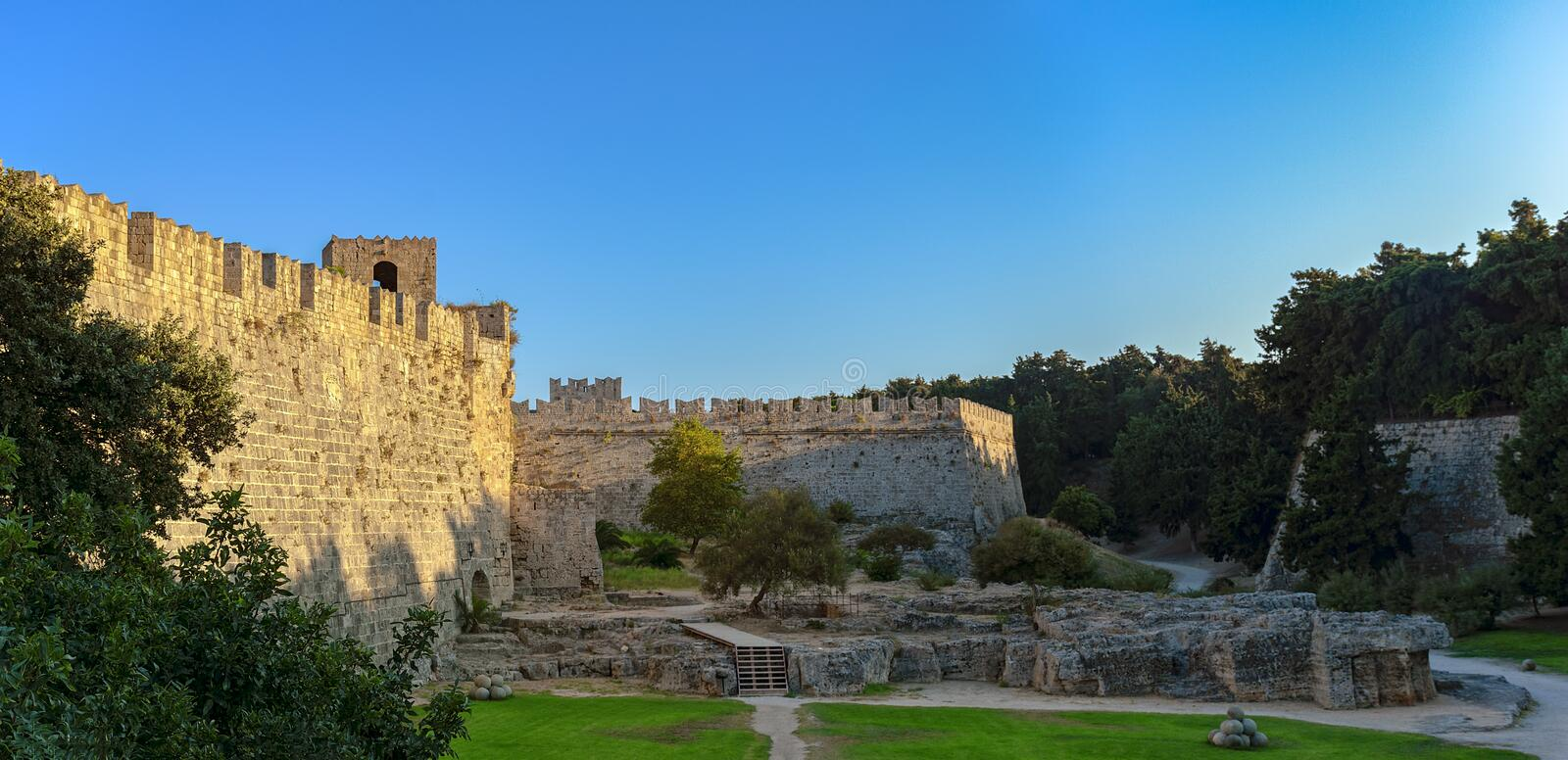 Walls of the fortress of the old town of Rhodes on the island of royalty free stock photo