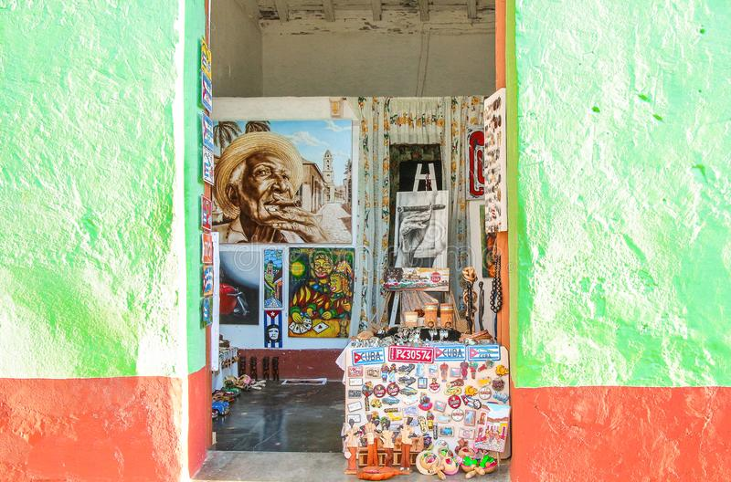 Caribbean wall green and red in Trinidad Cuba stock images