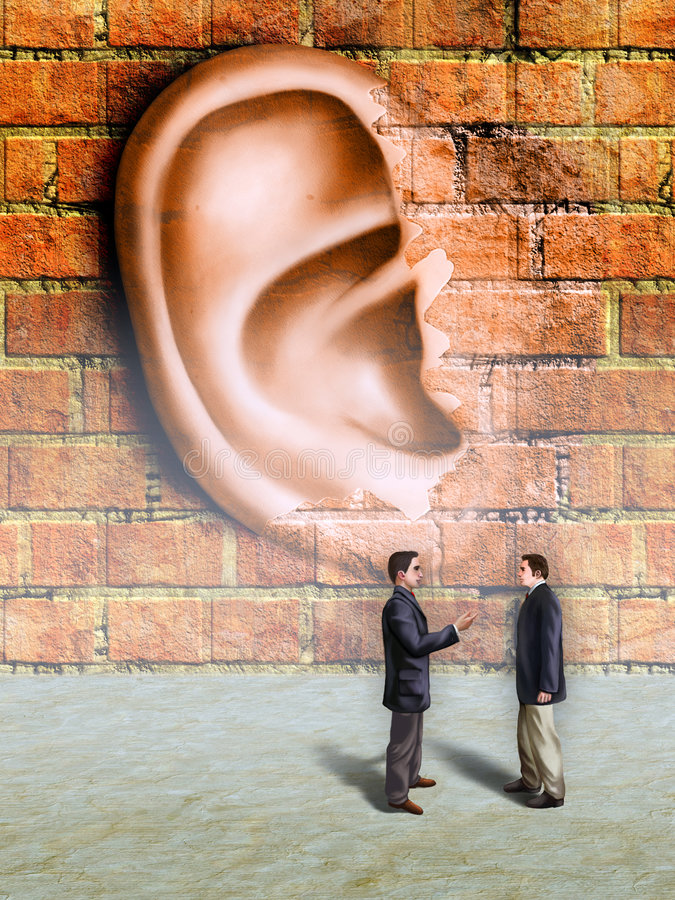 Walls have ears. Bussinessmen conversation being spied by a giant ear materializing in a wall. Digital illustration vector illustration