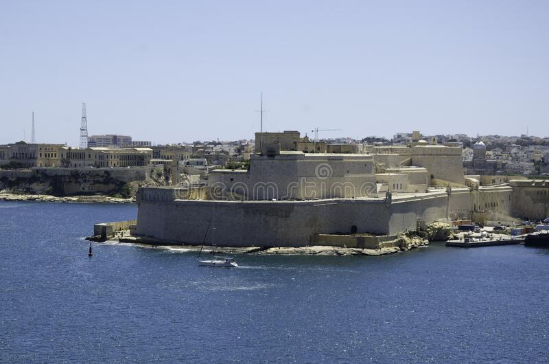 Valletta Grand Harbour fortress royalty free stock photos