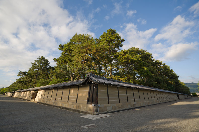 Walls of an Imperial palace in Kyoto stock photography