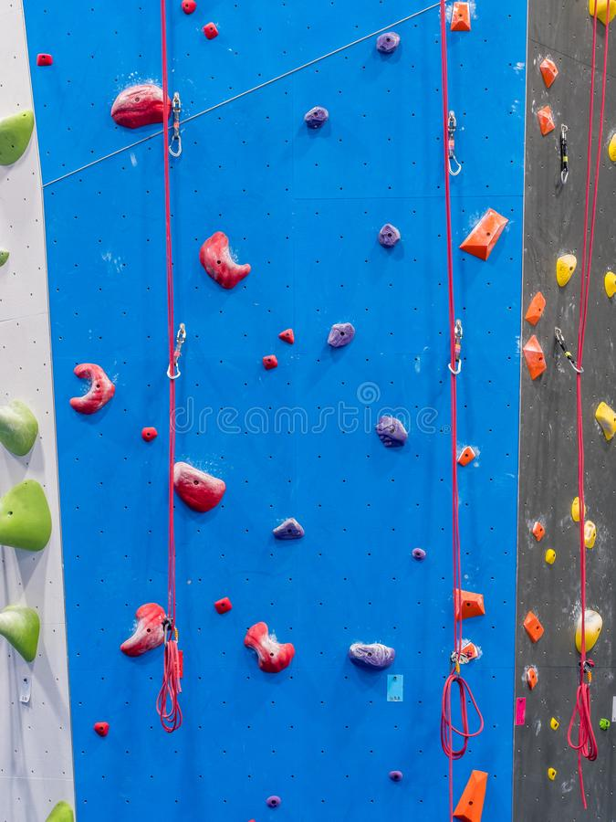 Indoor rock climbing gym. Walls of indoor rock climbing gym royalty free stock image