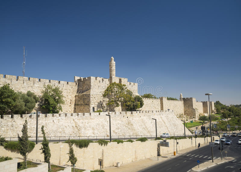 The walls of jerusalem old town israel. The ancient walls of jerusalem old town israel stock image