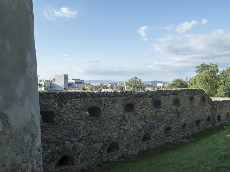 Walls of the medieval city of Brasov, Romania royalty free stock image