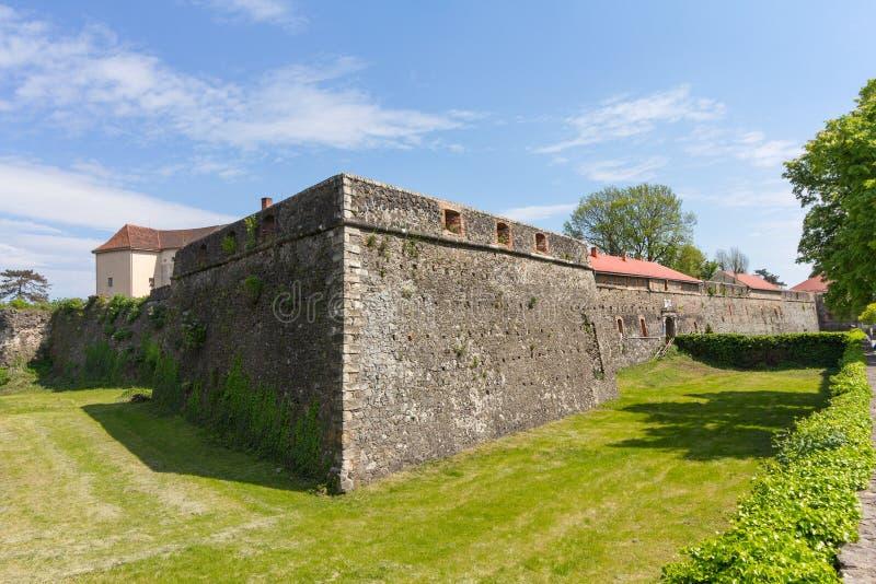 Walls and medieval Uzhhorod Castle stock images