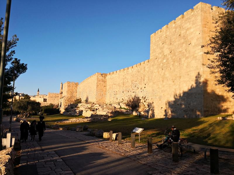 The walls of the old city of Jerusalem near the Jaffa Gate. royalty free stock photo