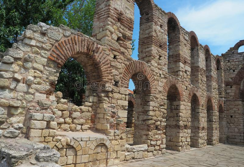 Ruins of ancient Church of Saint Sofia also known as the Old Bishopric in Nessebar, Bulgaria royalty free stock photography