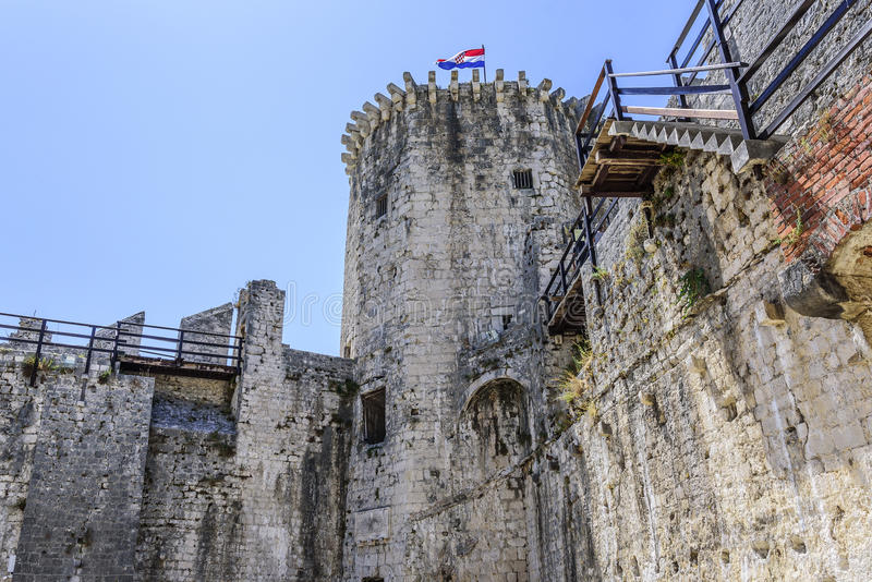 The walls of the old stone fortress. royalty free stock image