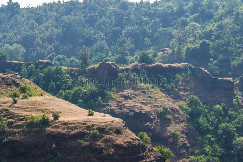 Walls and Ramparts of Mandavgarh Fort. Walls and Old Ramparts of Mandavgarh Fort at Mandu Mandav Dhar District near Indore Madhya Pradesh royalty free stock image