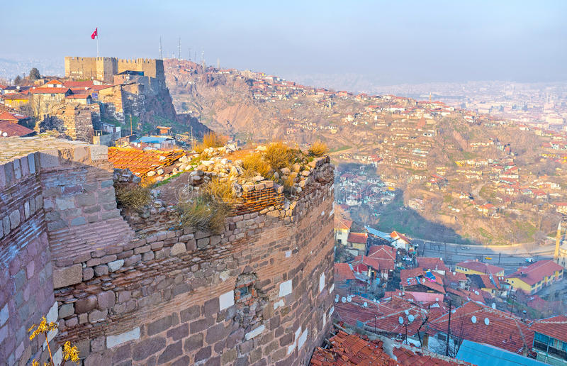 The walls and roofs of Ankara. The medieval citadel is the symbol of Ankara, Ankara, Turkey royalty free stock image