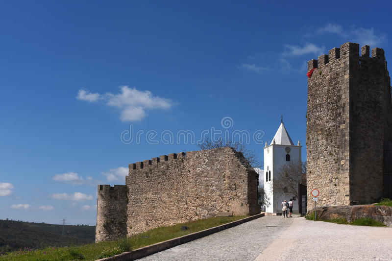 Walls and San Miguel church 15th century,Penela, Beiras region. Portugal stock images