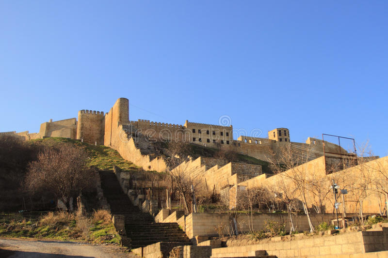 The walls of Sassanid Fortress Naryn-Kala in Derbent city, Republic of Dagestan stock image
