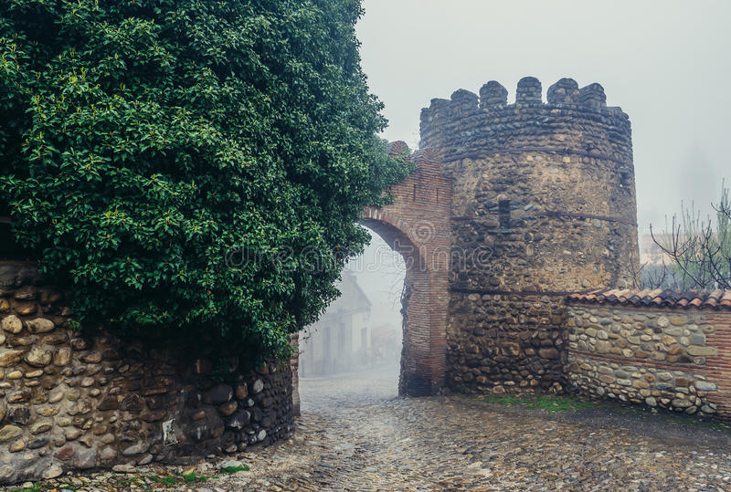 Walls of Sighnaghi. Sighnaghi, Georgia - April 24, 2015. 18th century fortified walls of Sighnaghi, small town in Kakheti district stock photos