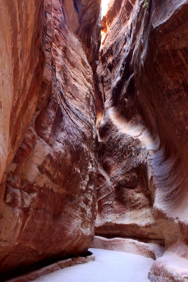 Petra in Jordan. The walls of the Siq, narrow passage that leads to Petra, Jordan royalty free stock photography