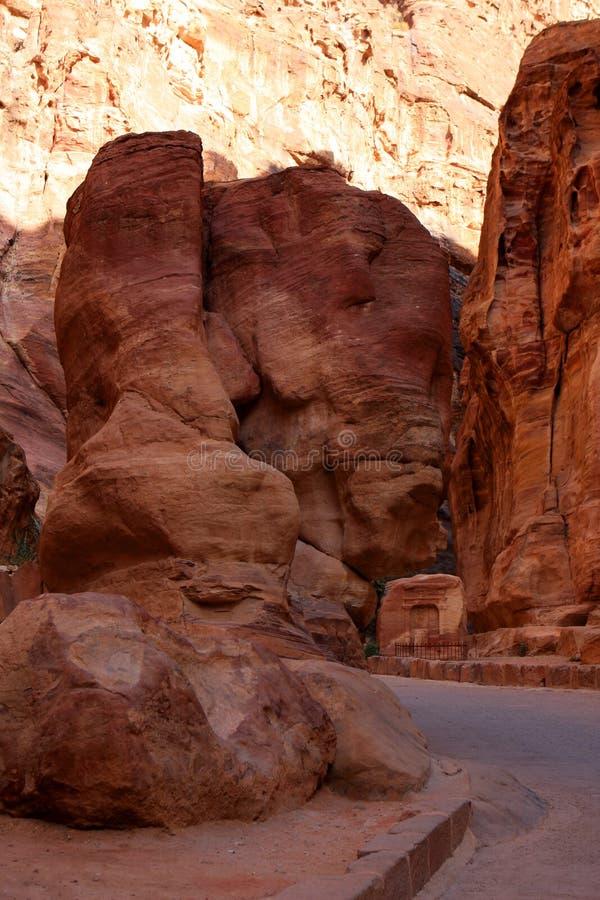 Petra in Jordan. The walls of the Siq, narrow passage that leads to Petra, Jordan royalty free stock image