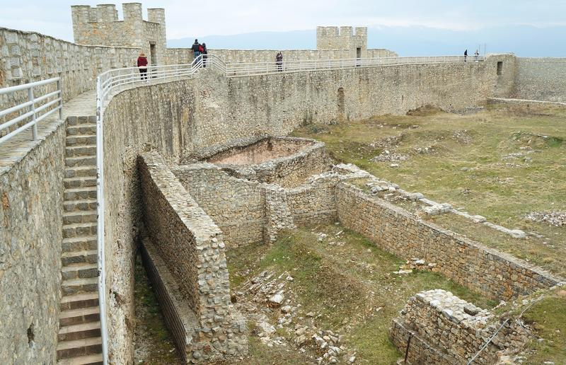 Walls surrounding the king Samuil fortress in Ohrid. Macedonia stock photography