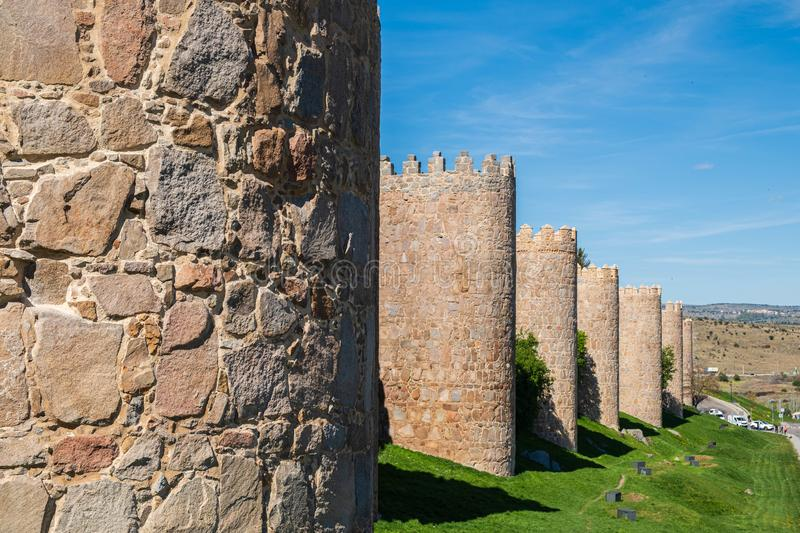 Walls surrounding Spanish city of Avila, turrets. Walls surrounding Spanish city of Avila landscape turrets royalty free stock photos