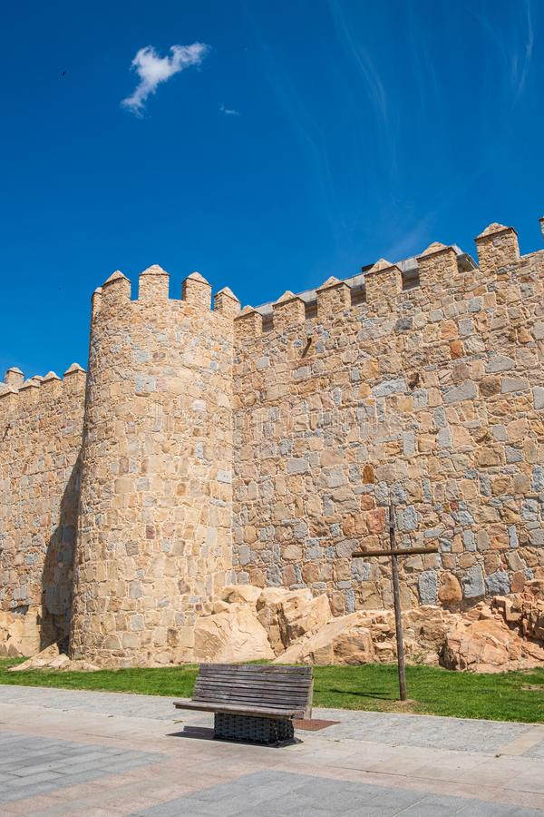 Walls surrounding Spanish city of Avila, Paseo del Rastro royalty free stock photo