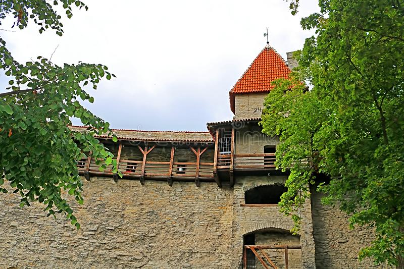 Walls of Tallinn fortress, Estonia. The walls and the many gates are still largely extant today. This is one of the reasons that Tallinn old town became a royalty free stock photo