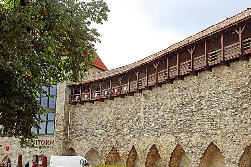 Walls of Tallinn fortress, Estonia. The walls and the many gates are still largely extant today. This is one of the reasons that Tallinn`s old town became a royalty free stock photo