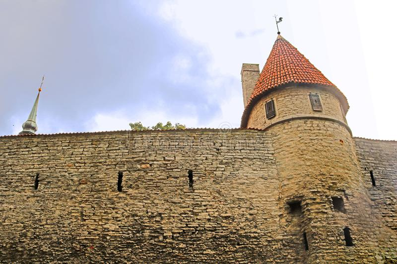 Walls of Tallinn fortress, Estonia. The walls and the many gates are still largely extant today. This is one of the reasons that Tallinn`s old town became a stock image