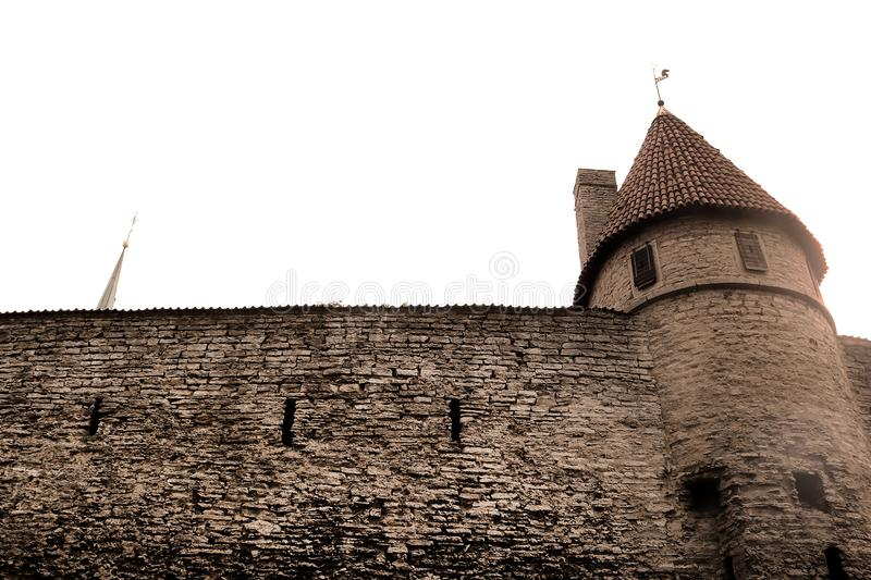 Walls of Tallinn fortress, Estonia. The walls and the many gates are still largely extant today. This is one of the reasons that Tallinn`s old town became a stock photos