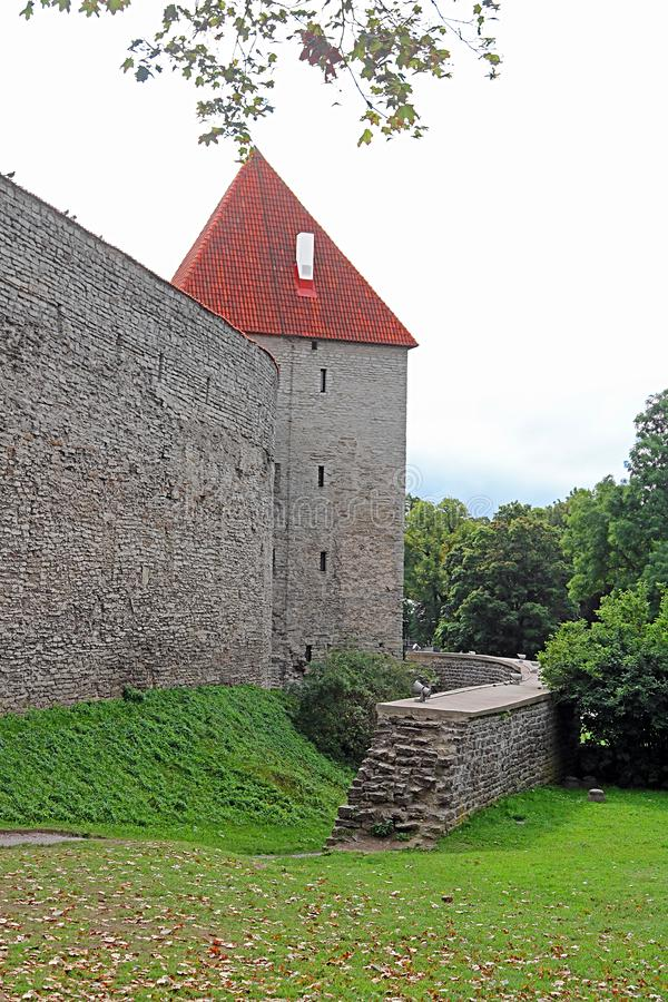 Walls of Tallinn fortress, Estonia. The walls and the many gates are still largely extant today. This is one of the reasons that Tallinn`s old town became a stock photo
