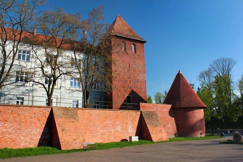 Walls and towers in Braniewo, Warmian-Masurian Voivodeship, Poland royalty free stock photo