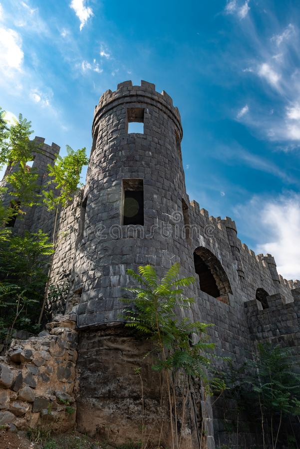 Walls and towers of the old fortress in Shaki city royalty free stock photography