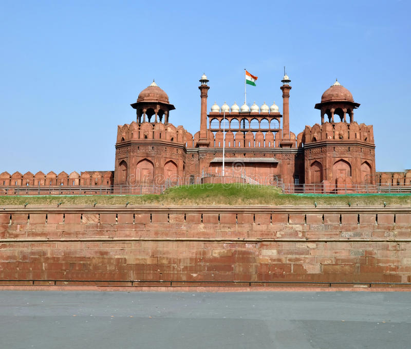 The Walls & Towers of The Red Fort, Dehli, India royalty free stock photo