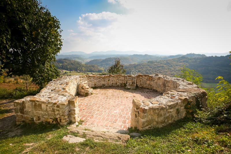 Veliki Tabor castle in Zagorje. The walls of Veliki Tabor fortress with a view of the hills in Zagorje, Croatia royalty free stock images