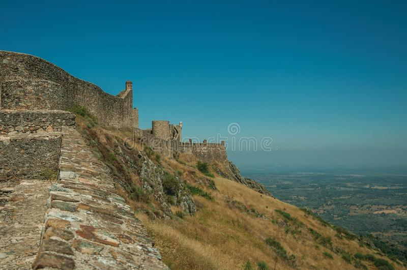 Walls and watchtowers over rocky ridge at the Marvao Castle royalty free stock photography