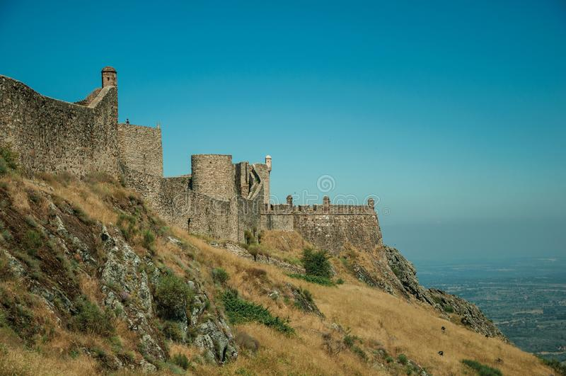 Walls and watchtowers over rocky ridge at the Marvao Castle stock images