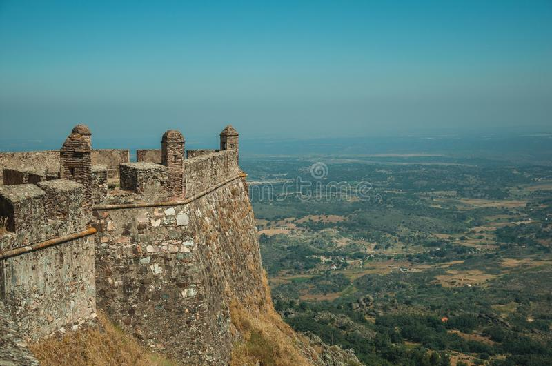 Walls and watchtowers in stronghold next to the Marvao Castle stock image