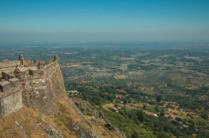 Walls and watchtowers in stronghold next to the Marvao Castle royalty free stock photos
