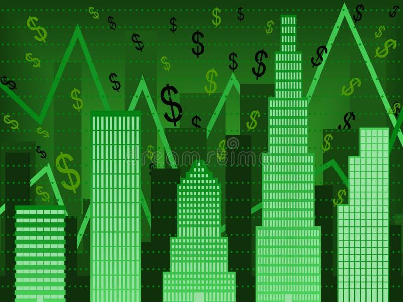 wallstreet för diagramfinansgreen stock illustrationer