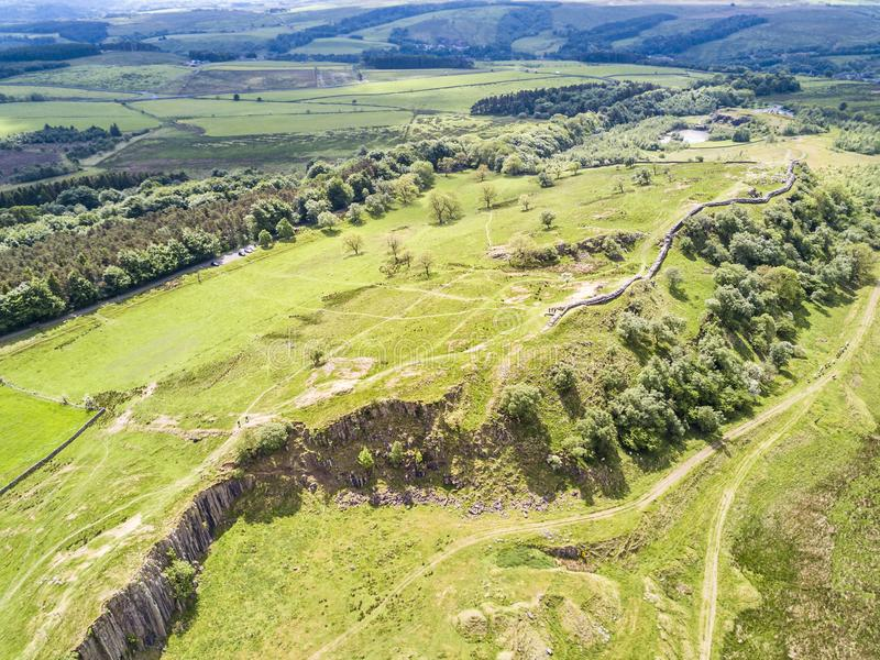 The Walltown Crags at World heritage site Hadrian`s Wall in the beautiful Northumberland National Park. With Hadrian`s Wall Path and Pennine Way stock photos