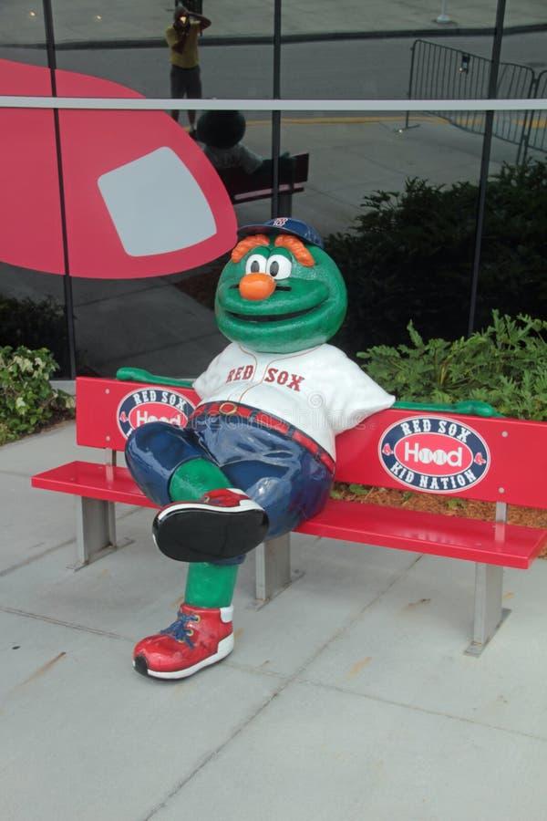 Wally JetBlue体育场的绿色妖怪在迈尔斯堡,佛罗里达 免版税图库摄影