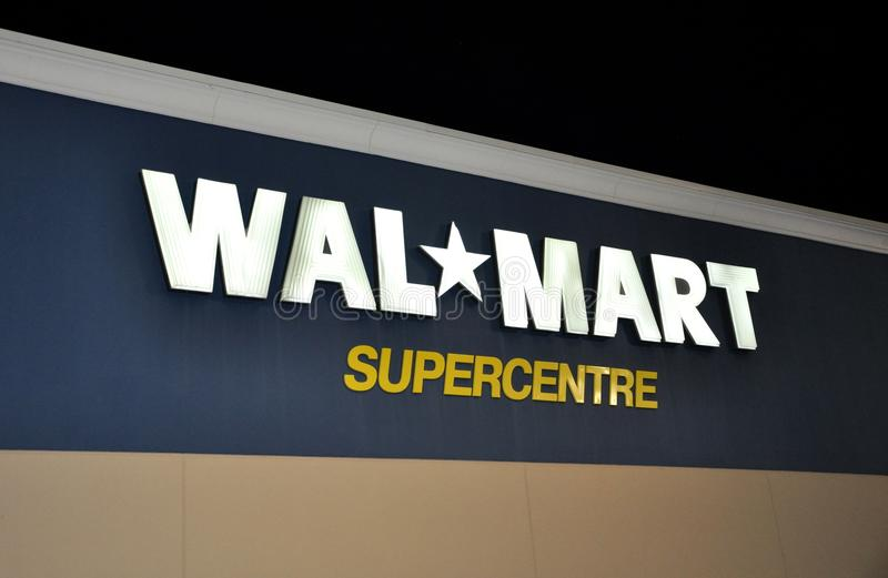 Walmart store sign. In front of the building stock photos