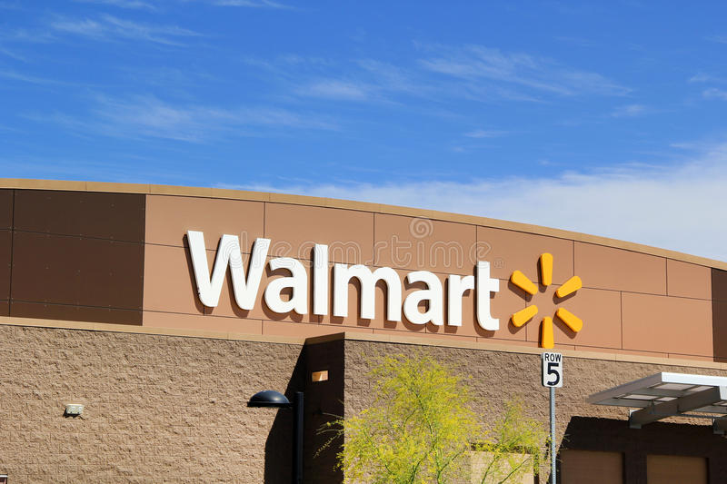 Walmart Supercenter in a Northern Suburb of Phoenix, Arizona USA. Walmart Supercenter in a Northern Suburb of Phoenix, Arizona on a Beautiful Day royalty free stock photo