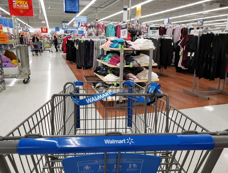 Walmartboodschappenwagentje stock afbeelding