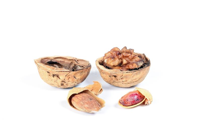 Walnut Almond pistachio royalty free stock image