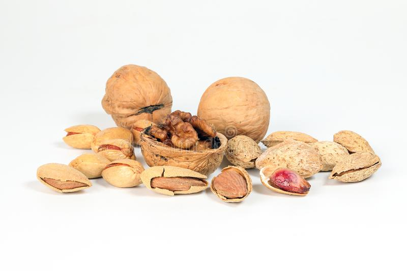 Walnut Almond pistachio royalty free stock images