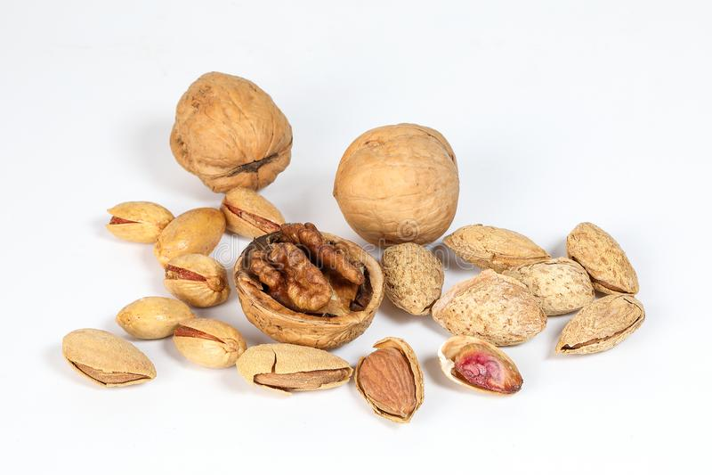 Walnut Almond pistachio royalty free stock photo