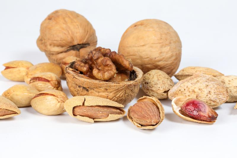 Walnut Almond pistachio royalty free stock photos