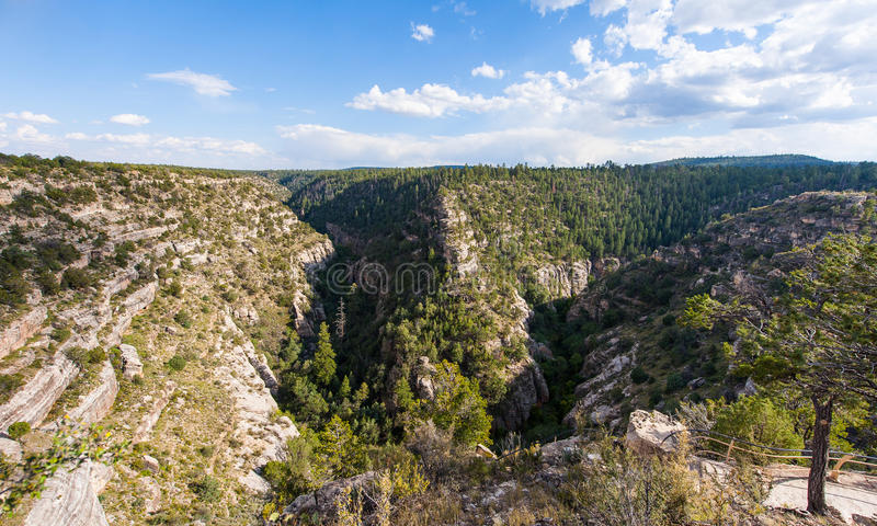 Walnut Canyon under the blue sky stock image