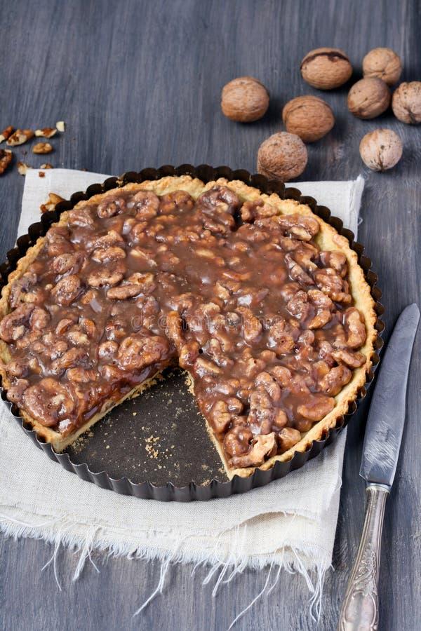 Walnut caramel tart royalty free stock images
