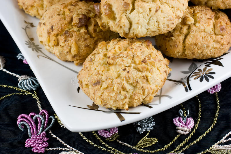 Walnut cookies royalty free stock photo