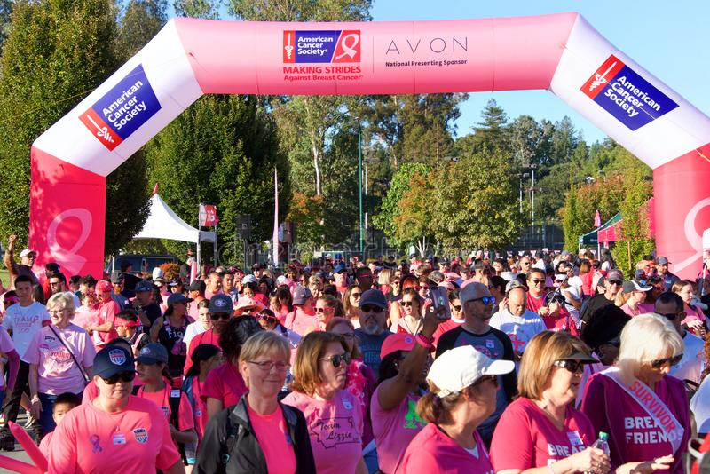 AVON Breast Cancer 5K walk for a cure in Walnut Creek, CA royalty free stock photo